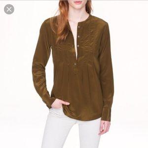 J. Crew collarless silk top green 4